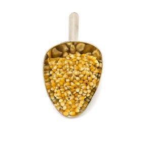 Nerezová lžíce s kukuřicí pukancovou na popcorn.