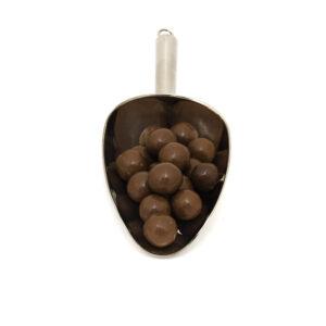 Nerezová lopatka s lískovými oříšky v mléčné 85% čokoládě.